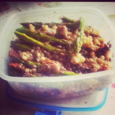 Puy Lentil, giant couscous & asparagus salad in a sun-dried tomato dressing