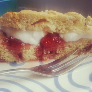 Giant Strawberry-Coconut Scone with Coconut Whipped Cream