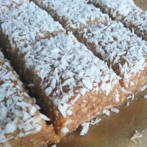 Ginger-coconut blondies